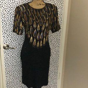 Dresses & Skirts - Vintage Gem 100% Silk sequin beaded cocktail dress